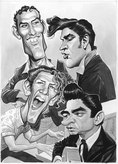 "Ink/wash illustration of the ""Million Dollar Quartet"" by Tom Richmond (2016)"