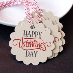 Happy Valentine's Day Tags or Package Labels on KRAFT by scrapbits, $4.75