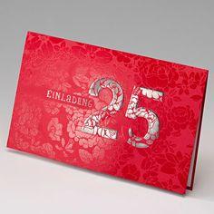 Farbenfrohe Einladungskarte im eleganten Rot zur für die Silberhochzeit bestellen.
