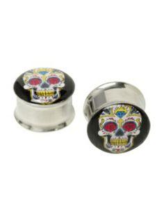 Steel Sugar Skull Eyelet Saddle Plug 2 Pack