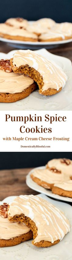 Pumpkin Spice Cookies with Maple Cream Cheese Frosting recipe by Domestically Blissful