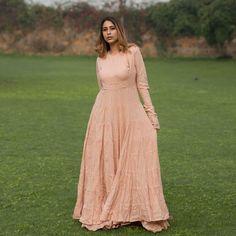 Blush Anarkali with Gotta Skirt