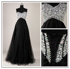 Corset prom dress , Long tulle beaded , black cocktail dress , evening  ball gown , formal dress , Sweetheart  Custom color , Plus size on Etsy, $174.99