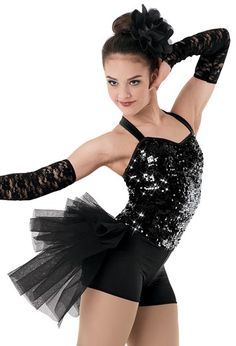 "Black Sequined Halter-Style Bodice and Bubble Skirt with Lace Gloves and Flower for Hair - ""Stuff Like That There"""