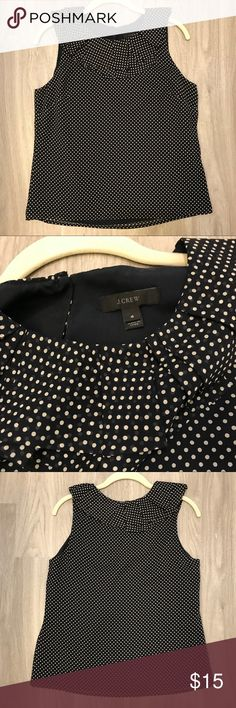 J. Crew Polka Dot Blouse with Ruffle Collar 100% silk, lining 100% polyester, dry clean only. Navy blue. Slight wear along one of the arm pits as pictured but nothing visibly noticeable. 18 inch bust and waist and 23 inches in length from shoulder to bottom hem. J. Crew Tops Blouses