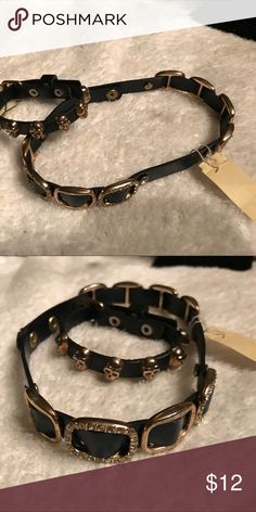 women's choker and  Bracelet Choker And Bracelet Set Black And Gold . Choker Gold And Black With  Rhinestones .Bracelet Skull Head Gold And Black Jewelry