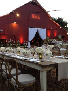 Elegant romantic setting at Ojai Valley Inn & Spa at the Red Barn. Decor by Maggie Jensen Florals, Design & Planning by Celebrations of Joy.