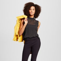 Women's Ruffle Trim Shell Black Polka Dot XL - Who What Wear