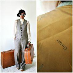 vintage 50s CARTIER brown wool TWEED vest by PasseNouveauVintage, $90.00