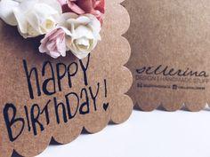 happy birthday - selfmade cards ∞ my little business  Selbstgemachte Karten mit Papierblüten ∞ handbemalt