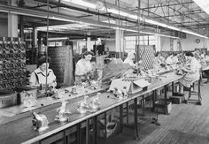 This photo of the production line was taken at the Kirby Cleveland factory in the late 1940s.