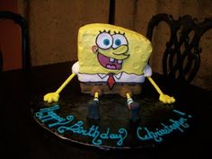 My first Sponge Bob Sponge Bob, Birthday Candles, Cakes, Desserts, Food, Tailgate Desserts, Spongebob, Meal, Cake