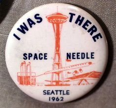 A Space Needle commemorative button from the 1962 Seattle World's Fair. This year marks the 50th anniversary of the fair. Click through to see more historic photos. #seattle #history #spaceneedle