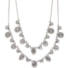 Givenchy Chase Two-Row Crystal Necklace ($50) ❤ liked on Polyvore featuring jewelry, necklaces, accessories, silver, crystal necklace, givenchy necklace, crystal stone jewelry, givenchy and crystal stone necklace