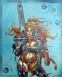 Heavy Metal Magazine / Vol 35 - / November 2011 / Dead Down 2008 (Simon Bisley) Simon Bisley, Dark Fantasy Art, Fantasy Girl, Fantasy Artwork, Fantasy Women, Heavy Metal Comic, Heavy Metal Art, Arte Sci Fi, Sci Fi Art