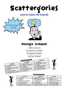 A fun, French Scattergories game! Education And Literacy, French Education, French Teaching Resources, Teaching French, Classroom Games, Classroom Language, Learning A Second Language, Teaching Secondary, Teaching Vocabulary
