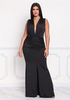 Plus Size Plunge Ruched Slit Maxi Gown Maxi Gowns, Evening Dresses, Plus Size Peplum, Plus Size Formal, Plus Size Party Dresses, Nice Dresses, Formal Dresses, Dress Images, Lace Trim