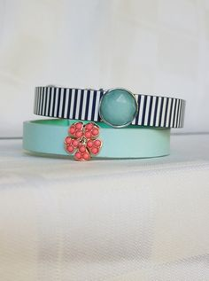 KEEP Collective. June Collector's Edition. Leather band. Mint. Navy stripe. Flower. Coral.