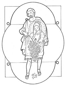 Fun Coloring Pages: Juan Diego and the Virgin of Guadalupe free coloring page. Feast day is December 9th (Saint Juan) and 12th (Our Lady).