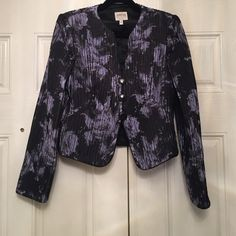 Armani silk black and lilac jacket Authentic Armani size 6 collarless fitted jacket with black piping trim and 3 buttons.  Light purple floral design on black accordion silk. Like new. Armani Collection Jackets & Coats