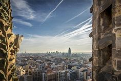 View of Barcelona from the tower of the Nativity - Gaudi's Sagrada Familia - Catalonia