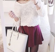 Image via We Heart It #bag #clothes #cute #fashion #flowers #girly #outfit #pretty #purse #red #shirt #skirt #style #muchaelkors