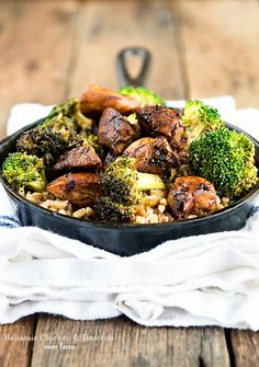 Farro is an ancient grain that we often use as a substitute for pasta or rice. This Balsamic Chicken and Broccoli Over Farro recipe is a great main dish!