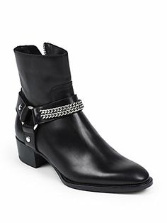 Saint Laurent Rock Chelsea Leather Chain Harness Ankle Boots