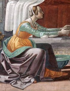 Domenico Ghirlandaio: Birth of St John the Baptist (detail), 1486-90 Florence: Santa Maria Novella, Cappella Maggiore *This woman is wearing a partlet indoors.Domenico Ghirlandaio: Birth of St John the Baptist (detail), 1486-90 Florence: Santa Maria Novella, Cappella Maggiore *Partlet outlined in black. Note partlet is not decorated, is cut to ensure neck is well covered and worn over dress - like a scarf.