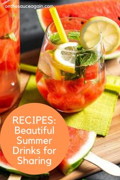 Best Summer Cocktails, Best Cocktail Recipes, Frozen Cocktails, Fun Cocktails, Smoothie Recipes, Smoothies, Watermelon Punch, Seasonal Fruits, Cocktail And Mocktail