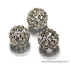 6 stuks sterling zilveren kraal ca. 6mm (Zi21-17-23)