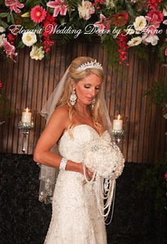 WEDDING BROOCH BOUQUET, Ivory and Silver Bridal Brooch Bouquet, Custom Brooch Bouquet, Jewelry Bouquet, Cascading Pearl Bouquet, Elegant Wedding Bouquet, Broach Bouquet, Ivory Brooch Bouquet, Keepsake - $585 ** Full Price $585.00 (Full Promo Price)** - Deposit = $3895.00 - Balance