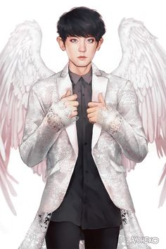 Exo chanyeol angel fanart shared by crazy Kpop Exo, Exo Chanyeol, Chanyeol Baekhyun, Baekhyun Fanart, Fanart Bts, Chanbaek Fanart, 2ne1, K Pop, Character Illustration