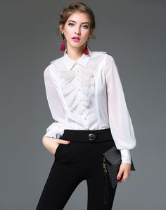 Top Quality New Fashion Shirt Organza Silk Ladies Turn-down Collar Ruffles  Designer Pearl Beads Button Long-Sleeved Blusas f2fac0197