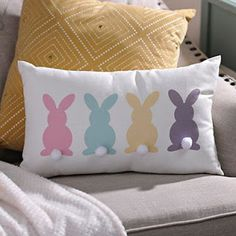Product Details Multi Color Bunny Pom Pom Pillow Make sure your guests are comfortable with charming accent pillows this Easter. Shop the 'Multi Color Bunny Pom Pom Pillow' for a cute, colorful addition to your living room decor! Sewing Pillows, Diy Pillows, Throw Pillows, Accent Pillows, Cushions, Pillow Ideas, Pillow Inspiration, Style Inspiration, Easter Projects