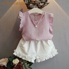 Cheap fashion girl clothing, Buy Quality girls clothing directly from China girls fashion clothing Suppliers: Belababy Girls Clothing Sets 2017 Summer Children 's Fashion Casual Pearl Sleeveless Chiffon Blouse + Shorts Suits Kids Clothes Girls Summer Outfits, Toddler Girl Outfits, Baby Girl Dresses, Baby Dress, Kids Outfits, Baby Girls, Toddler Girls, Clothes For Kids, Baby Girl Clothes Summer