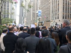 "Protest outside fox ""news"" against Jesse Watters racist Chinatown segment"