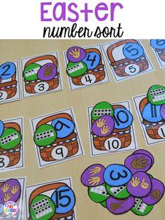 Easter basket number sort game. Plus peeps 5 senses and taste test FREEBIE. For preschool, pre-k, and kindergarten.