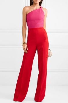 Roland Mouret - Truro one-shoulder two-tone wool-crepe jumpsuit Jumpsuit Elegante, Sequin Jumpsuit, Lela Rose, Dolce & Gabbana, Diane Von Furstenberg, Balmain, Befunky, Stella Mccartney, Elegante Y Chic