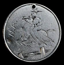 Love Token Engraved WR Man on Horse on 1890 Liberty Seated Dime Silver 10c.