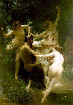 ἔκφραση καὶ τέχνη:   Νύμφες καὶ Σάτυρος, 1873    Nymphs and Satyr. Oil on canvas, by William-Adolphe Bouguereau in 1873.