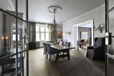 Norwegian moods Oslo, Oversized Mirror, Dining Room, Curtains, Table, Furniture, Apartments, Home Decor, Interiors