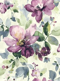 watercolour floral : Tapeta VB 10009 Wallquest Villa Flora_ http://www.tapety-sklep.com/pl/p/Tapeta-VB-10009-Wallquest-Villa-Flora/25952