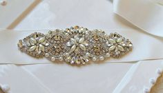 Bridal beaded crystal  pearl embellished sash. Rhinestone applique luxury wedding belt. DUCHESS PEARL PETITE on Etsy, $89.00