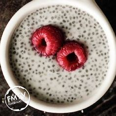 Vanilla  Coconut Chia Pudding!   Ingredients (use organic where possible): - 1/2 cup chia seeds  - 1 1/2 cups milk of choice (we love coconut milk)  - 1/2 teaspoon vanilla  - 1/4 cup frozen berries - 2 tbsp shredded coconut   Method:  Mix chia seeds, milk and vanilla in a bowl. Cover and refrigerate for at least 3 hours. Once thickened, serve top with raspberries and shredded coconut!  www.FMTV.com