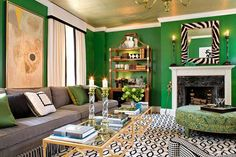 Kelly Green painted walls, zebra mirror, black and white interior design, decor