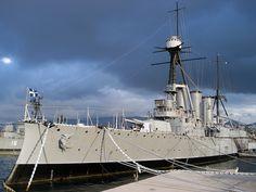 Greek cruiser Georgios Averoff, the last remaining armored cruiser, preserved at Piraeus.