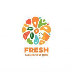 Food Logo Design, Logo Food, Branding Design, Juice Logo, Juice Branding, Logo Fruit, Eat Logo, Shop Banner Design, Logo Design Inspiration
