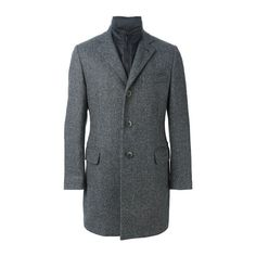 FAY Insert Collar Buttoned Coat (54.215 RUB) ❤ liked on Polyvore featuring men's fashion, men's clothing, men's outerwear, men's coats, grey and mens fur collar coat