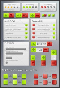 Rating & Voting Elements  #GraphicRiver         Item awarded in Web Elements Competition on GraphicRiver     Set of buttons and other web elements, all based on vector shapes. Great kit for creating voting polls, articles ratings etc.   Fully layered and editable PSD files  100% resizable  Well organized layers with descriptive names  Easy to customize  Hover & active effects included  Fonts used Myriad Pro     Created: 12December10 GraphicsFilesIncluded: PhotoshopPSD Layered: Yes…